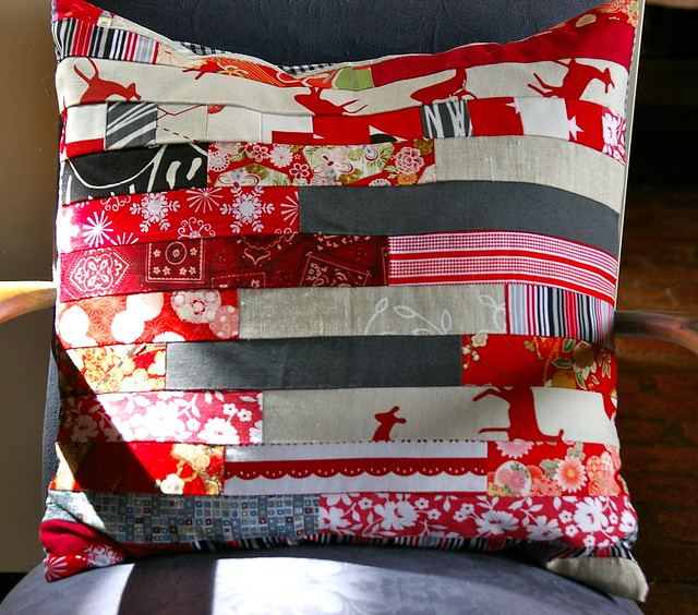 strippy red cushion cover