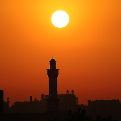 Sunset , Mosque Tower (Ahmad Al Zarouni) Tags: city sunset red media dubai village colorfull uae mosque knowledge