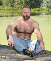 Evan at Turtle Pond (JeffBearNYC) Tags: musclebear hairy muscles beard centralpark bears handsome mature british bearded turtlepond gruff evanhood