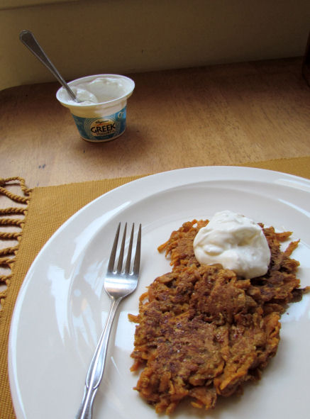 Sweet Potato Pancakes With Greek Yogurt