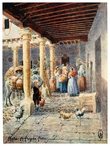 29-Avila patio de una posada-Northern Spain painted and described-1906- Edgar Thomas Ainger
