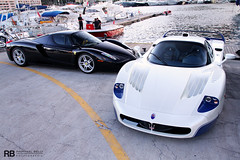 Blood Brothers (Raphaël Belly Photography) Tags: blue white black paris ice car port de french photography eos hotel riviera photographie duo ferrari casino montecarlo monaco mc belly exotic 7d enzo passion carlo 12 monte raphael rb mc12 maserati spotting supercars combo v12 digue raphaël f60 hercule principality
