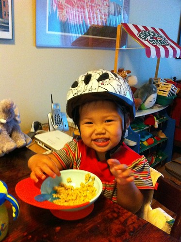 She insisted on wearing her new helmet all through breakfast this morning