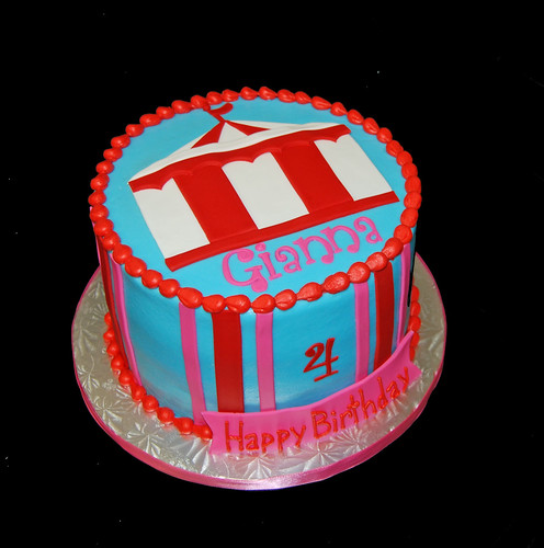 pink and red carnival tent 4th birthday cake