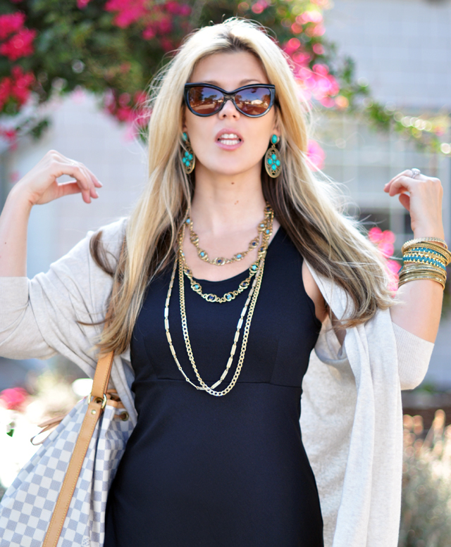 turquoise and brass earrings and necklaces+ cat eye sunglasses+ tom ford