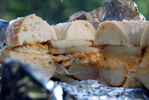 Potato, Egg White and Cheese Bagel Sandwich