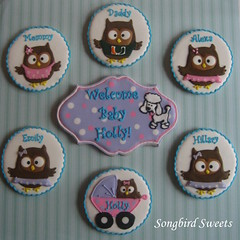 Owl Family (Songbird Sweets) Tags: owls sugarcookies newbaby songbirdsweets