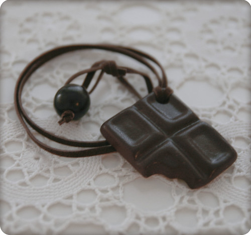 dark chocolate ceramic pendant