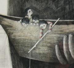 Drieluik detail (nina-smit.nl) Tags: boys illustration boot boat fishing hand little drawing illustrator nina vissen illustratie smit jongens