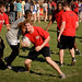 Students play an impromptu game of rugby during the Chillin' and Grillin' event.