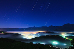 Stars Rise and Fall (samyaoo) Tags: light red cloud mist mountain tree green yellow fog night sunrise long exposure taiwan    sunmoonlake seaofclouds nantou