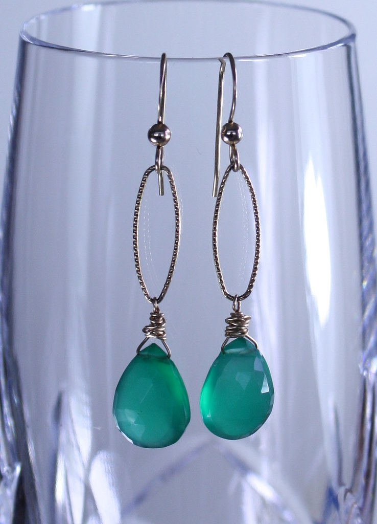 Green Onyx and Gold Filled Earrings