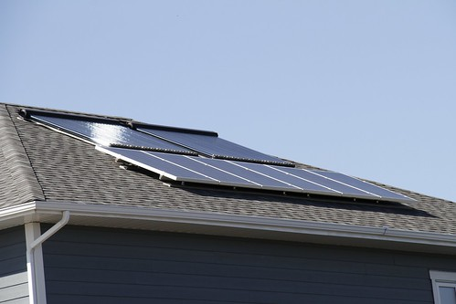 Solar electric and solar thermal panels on the Cranston EnerGuide 89 home.