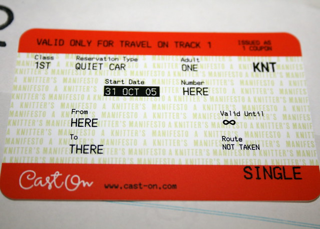 "Cast On ""Knit Rail"" ticket"