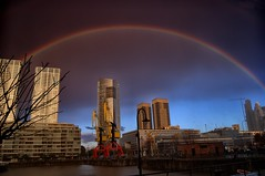 Over the rainbow (celta4) Tags: storm water argentina rio arcoiris clouds buildings river rainbow dock edificios agua buenosaires day nubes tormenta hdr puertomadero dda darsena rainbown magicunicornverybest magicunicornmasterpiece