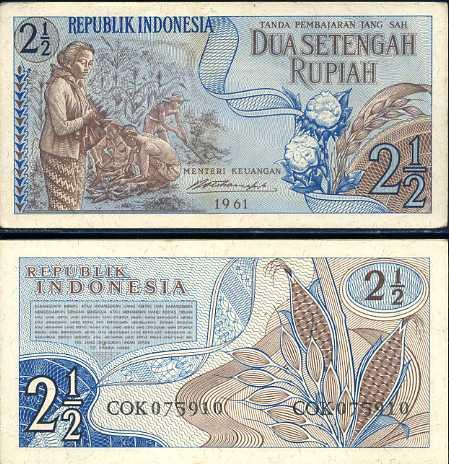2 1/2 Rupie Indonézia 1961, Pick 79