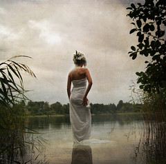 (Blue eyed synaesthete) Tags: lake selfportrait texture water dark lost alone cloudy tea dream late tall delicate fragile pondering