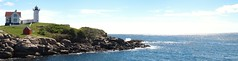 Cape Neddick Panoramic (minnepixel) Tags: ocean statepark park blue light summer vacation panorama sun lighthouse house reflection water canon coast rocks waves pano tide low maine newengland august panoramic shining yorkbeach g11 nubble capeneddick canonpowershotg11