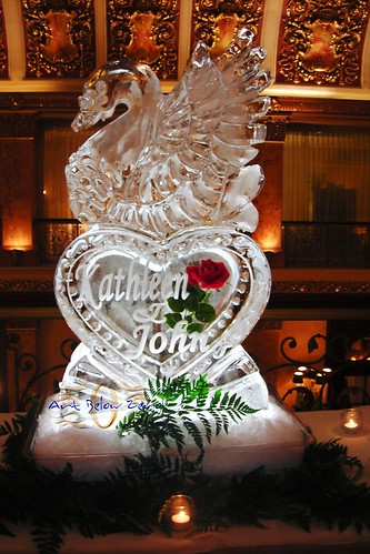 Swan on a Heart with Names and Rose Frozen ice sculpture
