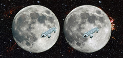 3D moon 1999 (3D shoot) Tags: moon stereoscopic stereophoto stereophotography 3d space 1999 fullmoon stereo parallel lunar space1999 stereoscope gerryanderson eagletransporter 3dshoot