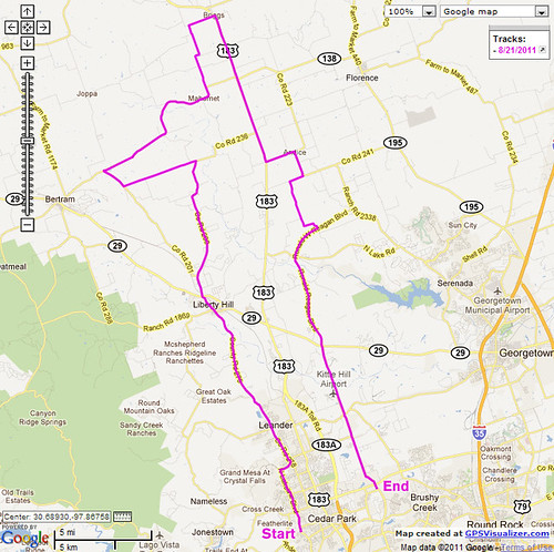 8-21-2011 Ride Route