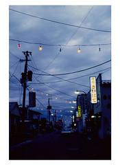 Toward evening of Northernmost Town ( Hokkaido, Japan) (Shigemi-san) Tags: light lightbulb twilight wire hokkaido quiet dusk streetlamp streetlights atmosphere cable telephonepole electricwire electriccable farthest towardevening quietatmosphere northermost unshieldedbulb