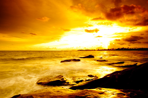 無料写真素材, 自然風景, ビーチ・海辺, 朝焼け・夕焼け, 橙色・オレンジ, 風景  カンボジア