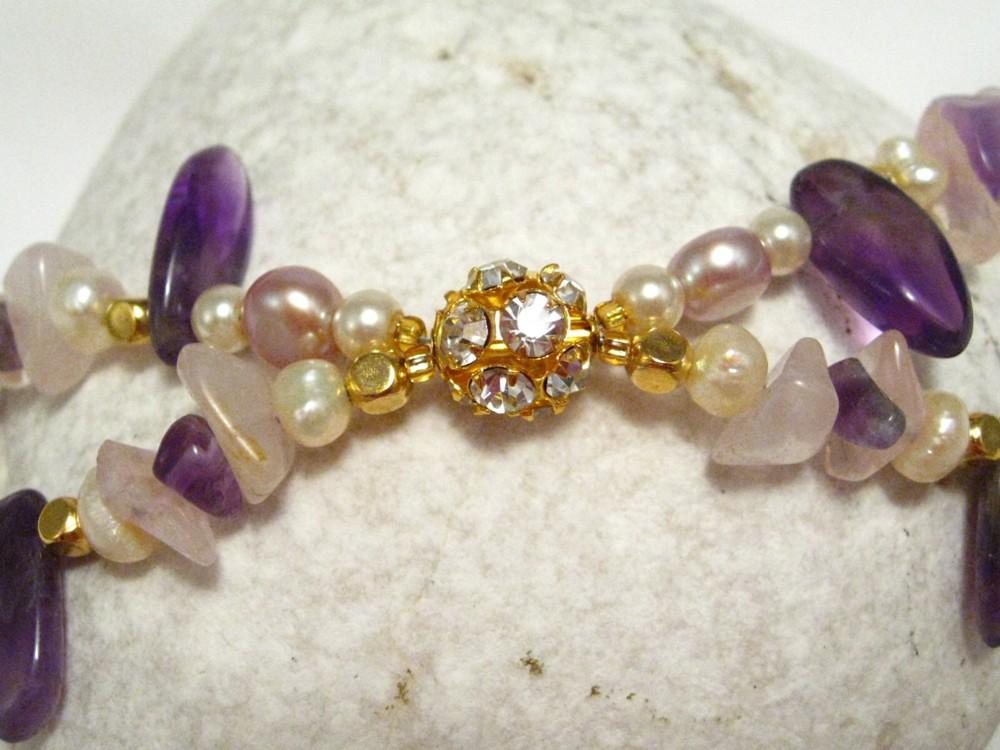 Gold Amethyst Bracelet with Pearls and Rose Quartz - Violet Polish