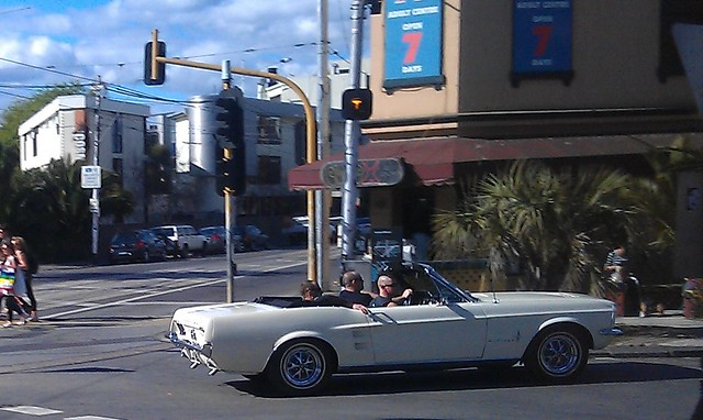 Mohawks in a convertible, Acland Street St Kilda