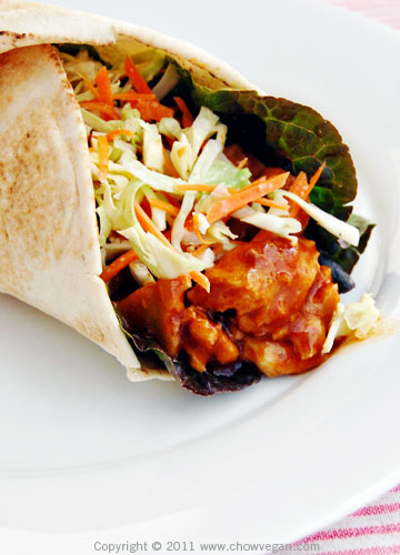 Seitan in Buffalo Sauce Wrap