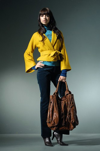 fall fashion, colored coat with bag