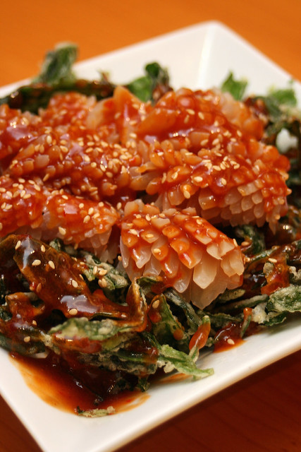 Crispy Kang Kong topped with Cuttlefish in Homemade Seafood Sauce - new