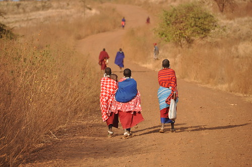 Masaai walking home