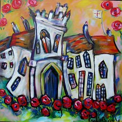 Chevenage Gloss SOLD (Ronnie Biccard) Tags: houses england colorful memories churches naive stylized whimsical manorhouses crookedhouses