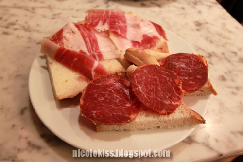 beef salami and jamon