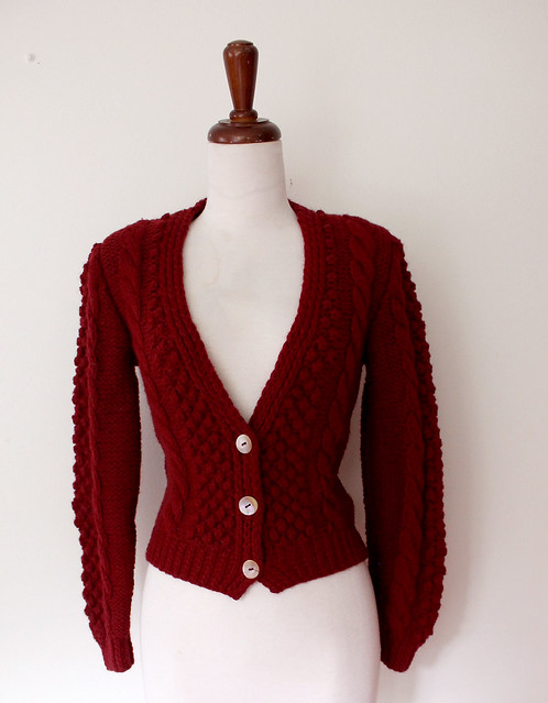 Chunky Knit Cranberry Cardigan Sweater, vintage 80s
