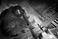 LiquidaCittà (luce_eee) Tags: city sky bw man reflection berlin water clouds illusion simplicity liquid berlino ilcielosopraberlino canon1635f28 newho ingebeisheimplatz canon5dmarkii