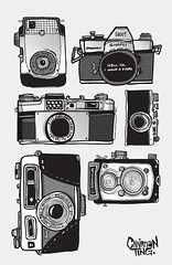 A vintage camera collection set illustrated (Chairman Ting) Tags: vintagecameras vintagecameracollection chairmanting illustratedart vintagecameracollectionillustrations lineartcameraillustration