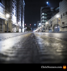 Pittsburgh Streetview (Chris Nuzzaco) Tags: road street city longexposure travel light urban building lamp architecture modern angel night composition contrast buildings dark way square outside outdoors photography evening twilight nikon highway streetlight long exposure downtown solitude pittsburgh cityscape quiet outdoor pavement empty pirates low perspective dramatic noone highcontrast center scene nighttime lamppost lane transportation freeway metropolis lonely groundlevel nightlife asphalt desolate sullen lightpost metropolitan steelers emptiness pncpark lanes lifeless urbanscene blackandyellow blackyellow papennsylvania d700 nikond700 lowangel chrisnuzzaco