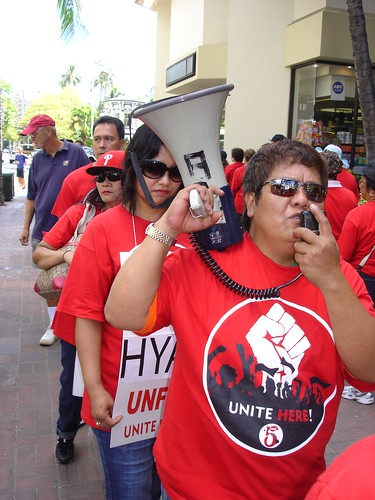 Hyatt Regency Waikiki union workers walk off job
