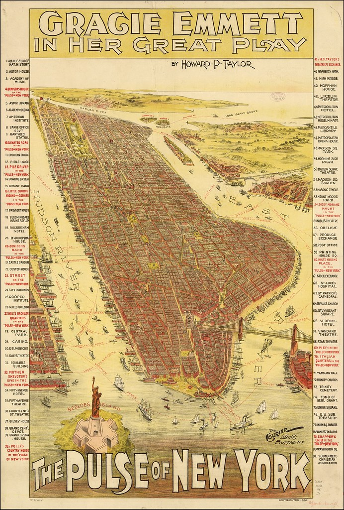 Theatre poster with map of New York City