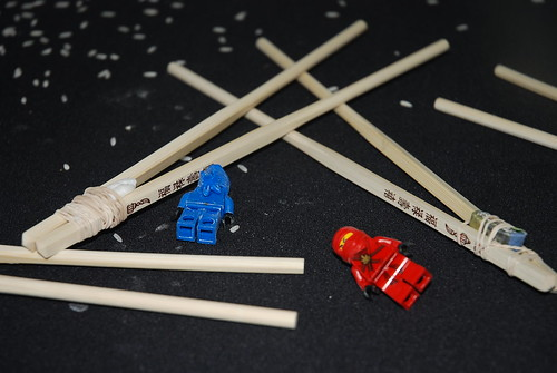 Ninjago legos and chopsticks (for chopstick races)