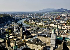 Salzburg Cityscape (Serge Freeman) Tags: city salzburg architecture buildings river austria cityscape towers aerial hills