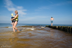 (Derek Knight Photography) Tags: boy sea summer woman beach water swim coast child paddle poland polska baltic pomerania pomorze karwia derekknight