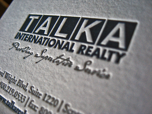 Talka Realty Letterpress Cards