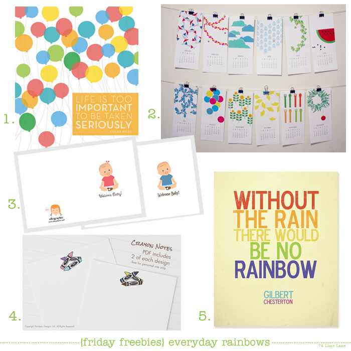 {friday freebies} everyday rainbows