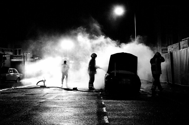 Leicester Riot: Burnt Car