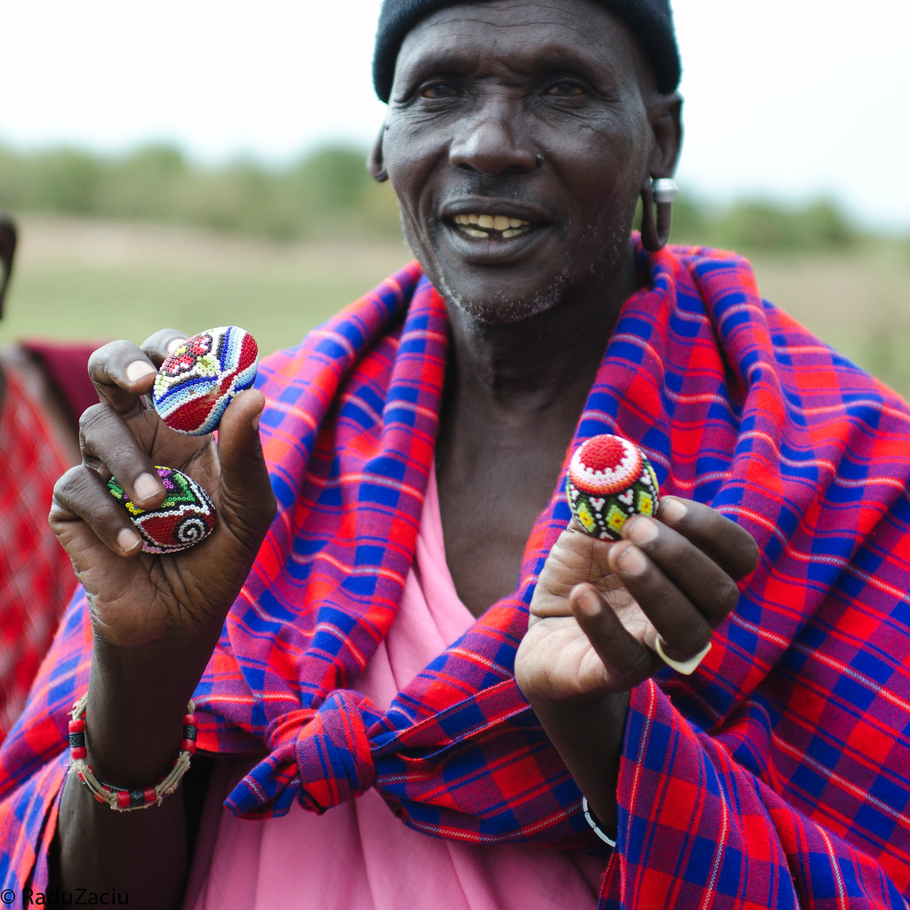 Maasai Chief with Romanian Easter Eggs