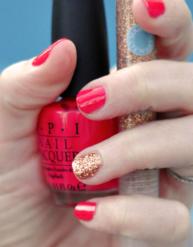 OPI Cajun Shrimp polish+martha  stewart  glitter glue on nails over polish, manicure
