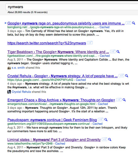 Google results for nymwars when logged in, Liminal States at #7
